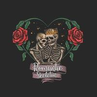 squelette en illustration de cadre fleur amour vecteur