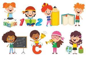 enfants heureux qui étudient et apprennent vecteur
