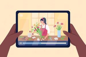 mains tenir la tablette avec vidéo sur illustration vectorielle de couleur plat floristique vecteur
