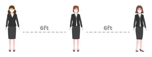 Caractère de jeune femme d & # 39; affaires portant une tenue d & # 39; affaires et un masque facial en gardant une distance sociale de 6 pieds vecteur