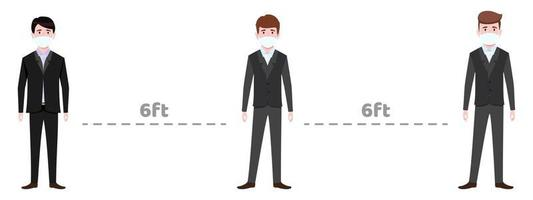 caractère de jeune homme d & # 39; affaires portant une tenue d & # 39; affaires et un masque facial gardant une distance sociale de 6 pieds vecteur