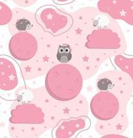 Modèle animal sans couture de doux rêves avec hérisson hibou et mouton sur le fond avec des étoiles de lune et des nuages vector illustration
