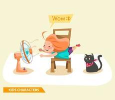 enfants filles jouant avec la conception de personnages de fans et de chats vecteur