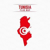 drapeau carte de la tunisie vecteur