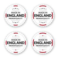 ensemble de quatre étiquettes anglaises faites en angleterre autocollants et symboles de qualité premium avec des étoiles illustration vectorielle simple isolé sur fond blanc vecteur