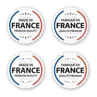ensemble de quatre étiquettes françaises fabriquées en france en fabrique française en france autocollants et symboles de qualité supérieure avec étoiles illustration vectorielle simple isolé sur fond blanc vecteur