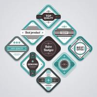 4 jeux de conception de badges rétro vecteur