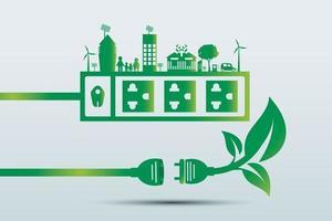 les idées énergétiques sauvent le concept du monde prise de courant écologie verte vecteur