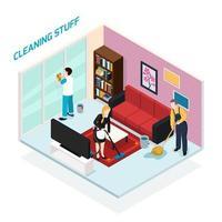 illustration vectorielle de personnel à domicile design isométrique concept vecteur
