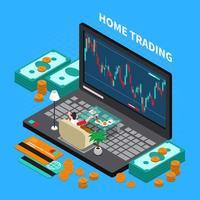 illustration vectorielle de composition de bourse de négociation en ligne vecteur