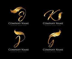 lettre initiale monogramme plume dorée vecteur