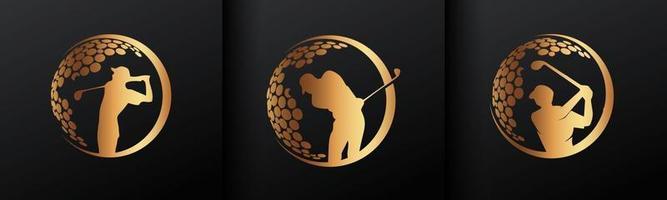 signe de cercle de golf doré vecteur