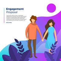 Proposition d'engagement de couple plat avec fond dégradé Vector Illustration
