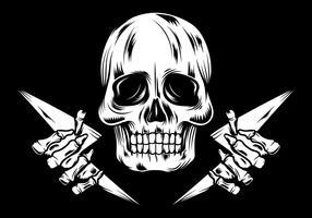 Crâne Linocut Illustration vecteur