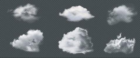 ensemble de vecteurs de nuage isolé réaliste sur le fond transparent vecteur eps 10