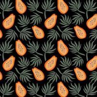 Modèle sans couture dessiné à la main avec des papayes et des feuilles de palmier apportent illustration vectorielle fond de répétition de vecteur pour le tissu d'été coloré