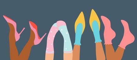 différentes jambes de femmes chaussettes et chaussures colorées talons hauts et baskets design de bannière moderne pour le web et pinte à la mode main dessiner illustration vectorielle vecteur