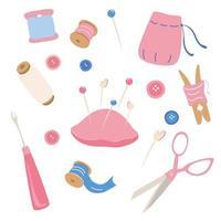 ensemble d'icônes de kit de couture outils de passe-temps affiche couture sur mesure couture à la main passe-temps couture arts et artisanat fournitures de croquis dessinés à la main conception d'outils pour la bannière d'impression de cartes vecteur