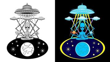 style de bande dessinée emblème de caractère extraterrestre vecteur