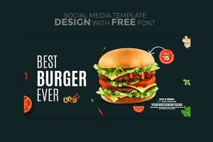 bannière de menu alimentaire médias sociaux publier des modèles de médias sociaux modifiables pour les promotions sur le menu alimentaire vecteur