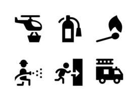 ensemble simple d'icônes solides vectorielles liées aux pompiers vecteur