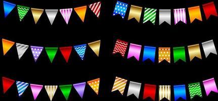 ensemble de fanions de fête colorés vecteur