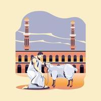 homme musulman sacrifier une chèvre pendant le pèlerinage ou le hajj vecteur