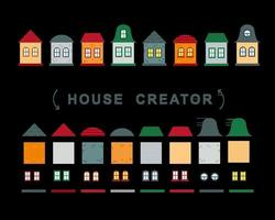 collection de vecteur de créateur de maison d'éléments de fenêtres et de murs de toit