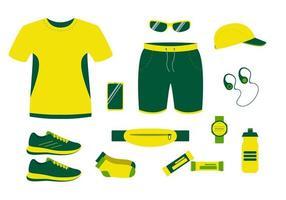 vêtements de course d'été tshirt shorts et baskets vecteur