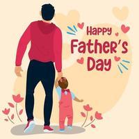 papa marchant avec sa fille pour la fête des pères vecteur