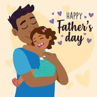 papa afro-américain étreignant sa fille pour la fête des pères vecteur