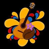 Guitare avec grain de café et image représentative des éclaboussures colorées de la Colombie vecteur