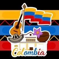 Bâtiment de l'église avec un drapeau hat coffee bean et guitare image représentative de la Colombie vecteur