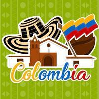 église avec un chapeau de grain de café et affiche du drapeau de la colombie vecteur