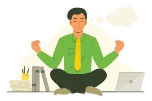 homme de bureau s'asseoir sur le bureau pour méditer avant de travailler vecteur