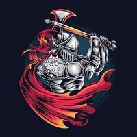 chevalier guerrier en tant que joueur esports vecteur