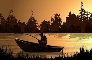 Image vectorielle d'un pêcheur sur un bateau avec un chien dans l'obscurité dans le brouillard vecteur