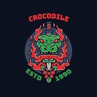 insigne de mascotte de crocodile ou conception de vêtements vecteur