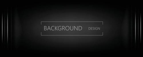 fond horizontal de bannière abstraite noir et gris foncé vecteur