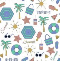 motif d'été sans couture coloré avec des éléments de plage tels que des lunettes de soleil paume pastèque sac de crème glacée parapluie vagues tongs et illustration vectorielle de coquille vecteur