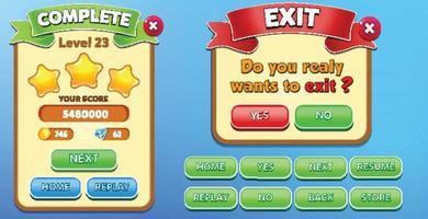 Scène de menu de jeu de sélection de niveau avec barre de chargement de boutons et étoiles pro vecteur