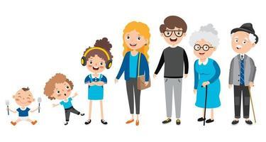 personnages de dessins animés de différents âges vecteur