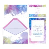 Invitation de mariage coloré Watecolor Vector