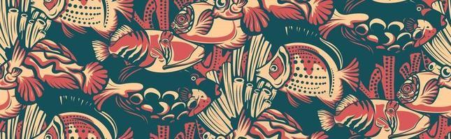 modèle sans couture vintage avec des poissons de récif corallien vecteur