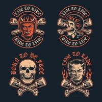 illustrations vectorielles d & # 39; un diable de motard avec un patch de motard de cigare et un crâne de motard dans le casque vecteur