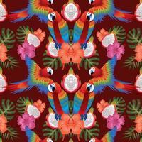 feuilles tropicales fleurs macow oiseaux sans soudure vecteur