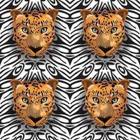 tigre sans couture sur fond noir et blanc vecteur