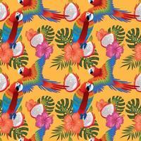 fleurs tropicales macow et fruit du dragon sans soudure vecteur