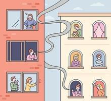 les voisins sont endommagés par des personnes qui fument dans les fenêtres des appartements. illustration vectorielle minimale de style design plat vecteur