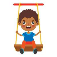 enfant drôle jouant dans une balançoire vecteur